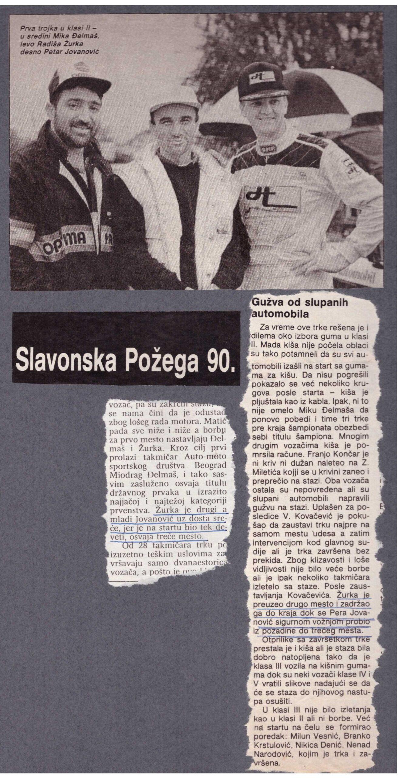 Trka u Požegi, Žurka Đelmaš i Pera Jovanović